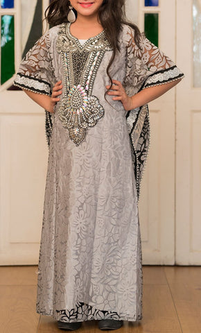 Gray Handmade Designer Kaftan For Girl- Final Sale_Front_View