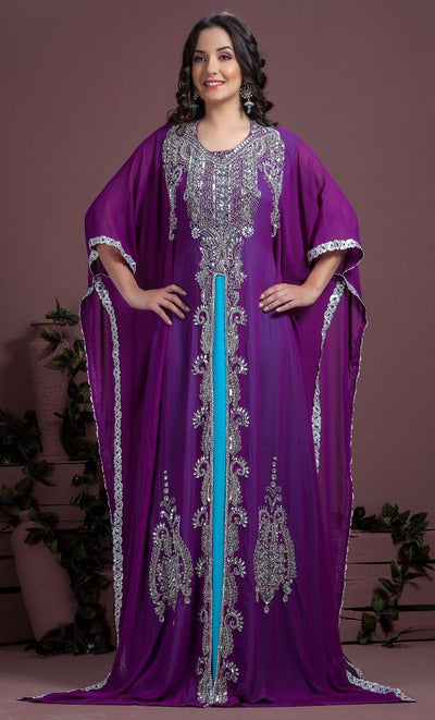 Blue & Purple Color Kaftan-Georgette Kaftan-Final Sale_As Pictured_Front_View