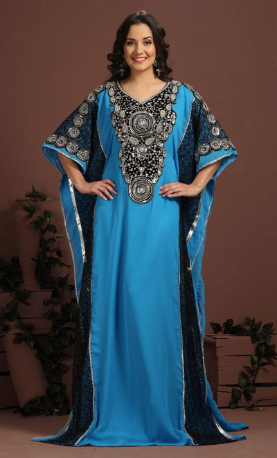 Blue Color Georgette Kaftan Abaya-Final Sale_As Pictured_Front_View
