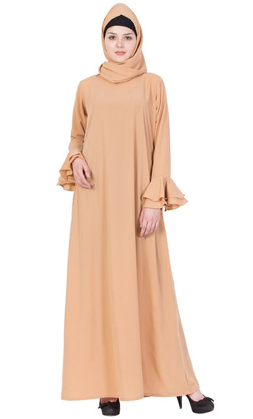 Solid A line bell sleeves abaya-Final sale