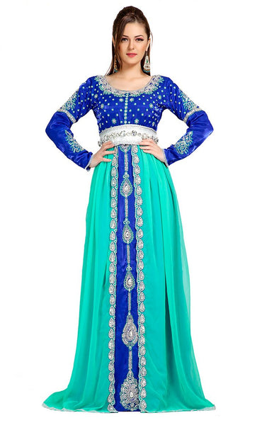 Classic Elegant Blue Embroidered Moroccan Caftans-Final Sale_As Pictured_Front_View