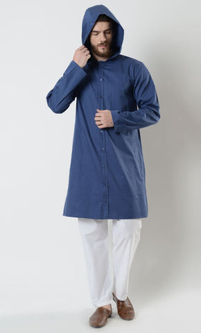 Mens Cotton Side Pockets Hooded Tunic_Blue_Front_View