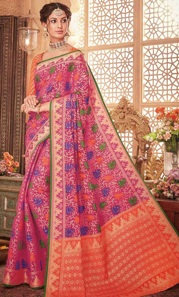 Contrast Floral woven with jari saree-Final sale_As Pictured_Front_View