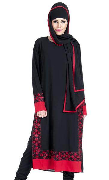 Embroidered Red and Black Salwar Kameez Dress Set_As Pictured_Front_View