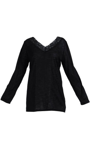 Lace Long Sleeve Viscose Knit Under Dress Slip Top- Regular Length - Final Sale_Black_Front_View