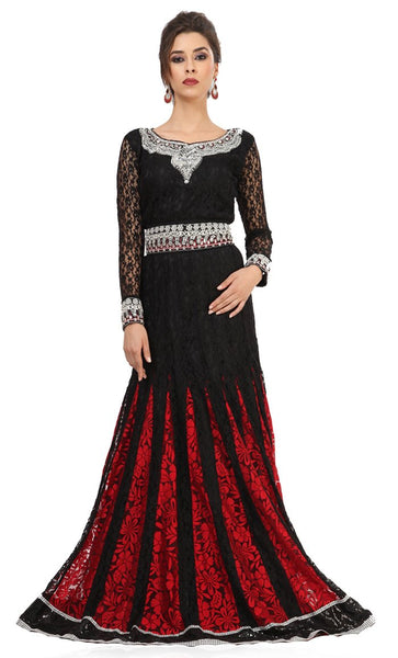 Gleaming Black & Red Wedding Kaftan-Final Sale_Front_View