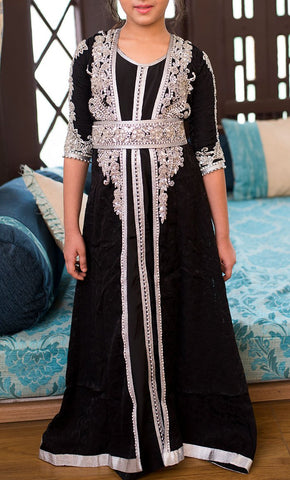 Black Designer Handmade Moroccan Style Kids Caftan-Final Sale_Front_View