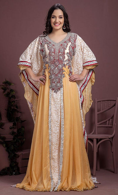Off White & Maroon Color Kaftan-Georgette Kaftan-Final Sale_As Pictured_Front_View