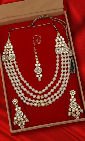 Multi-Layered Pearl Necklace set - Final Sale Item_Front_View