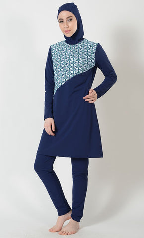 Navy Printed Swimwear Burkini- Final Sale_As Pictured_Front_View