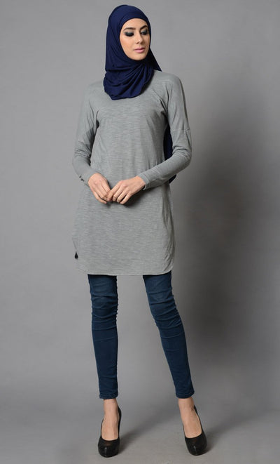 Grey Simple Plain Cotton Tunic-Final Sale Item_Grey_Front_View