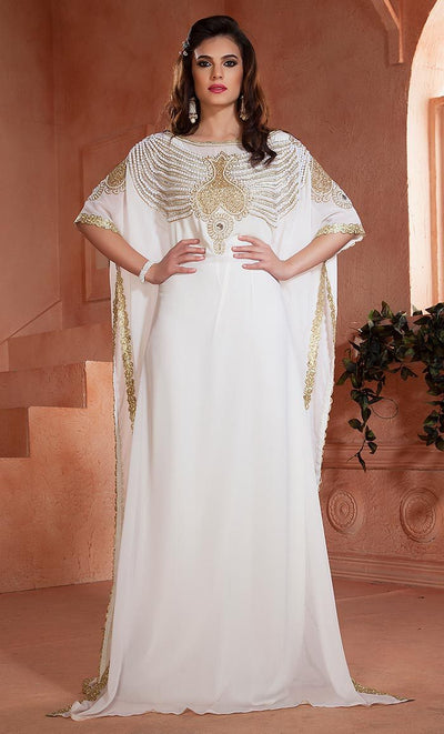 White color Kaftan Dress-Georgette Hand beaded Designer Kaftan-Final sale