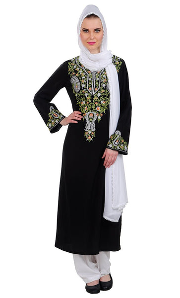 Beautiful multi color Salwar kameez set_Black_Front_View