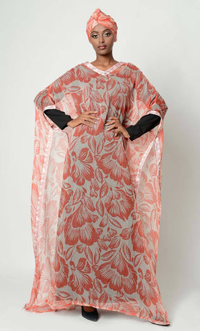 A Line Printed kaftan abaya dress fully lines hijab included-Final sale_As Pictured_Front_View