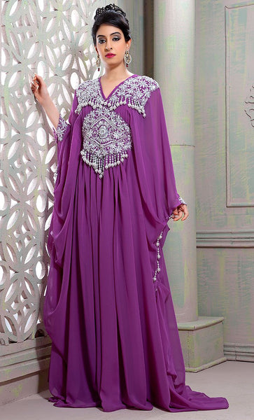 Classy Purple Designer Butterfly Kaftan-Final Sale_As Pictured_Front_View