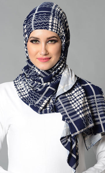 Plaid Navy Lycra Hijab_As Pictured_Front_View