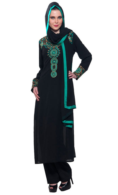 Resham & Gold Zari Embroidered 3 piece Black salwar kameez set_Black_Front_View