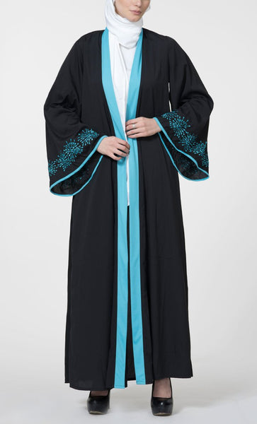 Turquoise Front Open Embroidered Duster Bisht_Turquoise_Front_View
