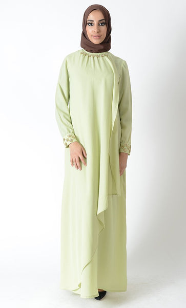 Layered Jewel Accent Eid Abaya Dress+hijab_Light Green_Front_View