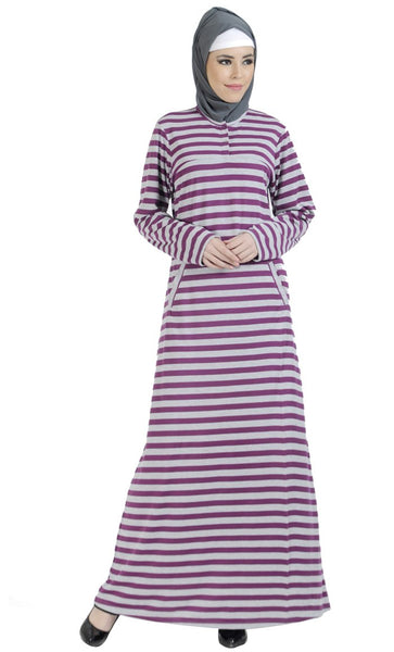 Knitted Purple Striped Cotton Blend Amatullah Abaya_As Pictured_Front_View