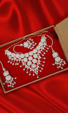 Art Pearl and Diamond Chandelier Necklace Set - Final Sale Item_Front_View
