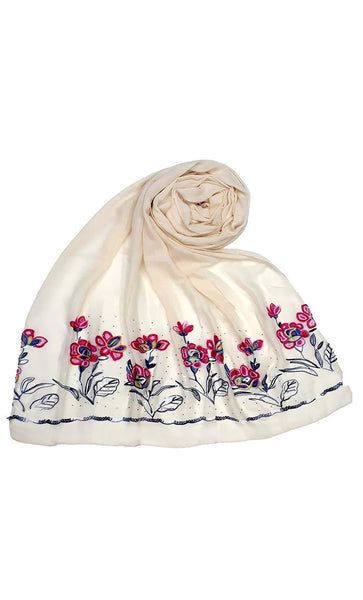 Off white floral embroidered hijab-final sale