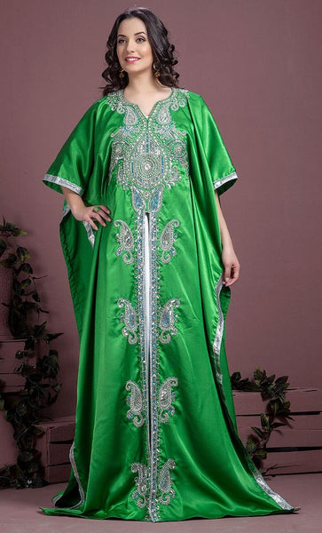 Green Color Kaftan-Satin Kaftan-Final Sale_As Pictured_Front_View