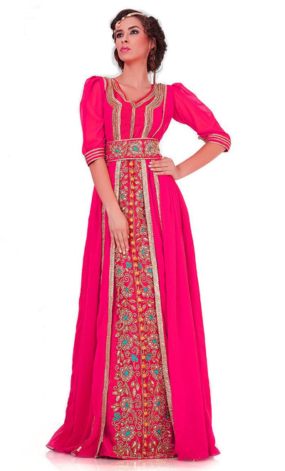 Attractive Dark Pink Jacket Style Moroccan Wedding Caftan-Final Sale_As Pictured_Front_View