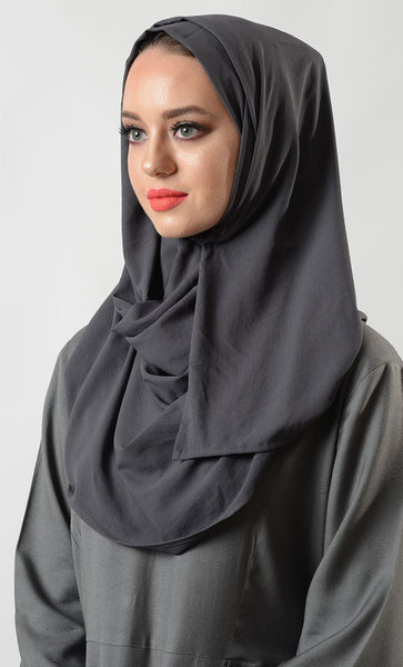 Grey Moss Crepe Hijab_Grey_Front_View