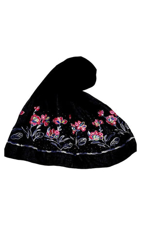 Black embroidered cotton hijab-final sale