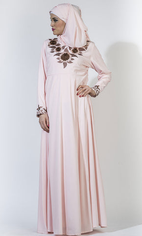 Baby Pink Princess Embroidered Crepe Abaya_Baby Pink_Front_View