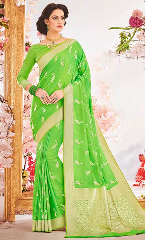 Traditional Jacquard Weaving Green Designer Saree_Front_View