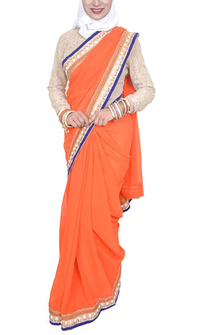 Pakeezah Basic Orange georgette Everyday Saree - Final Sale Item_As pictured_Front_View