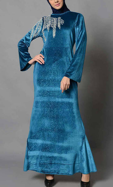 Blue Velvet Embroidered Abaya_As Pictured_Front_View