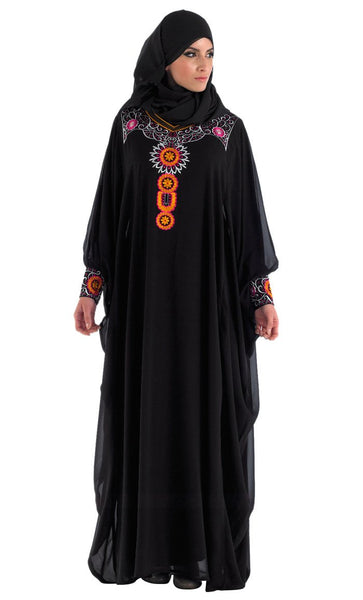 Black Abaya Kaftan Style for Eid and Special Occassion_Black_Front_View
