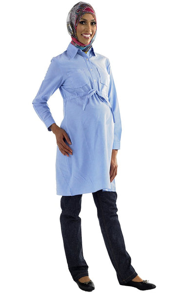 Drawstring Maternity Kurti_Blue_Front_View