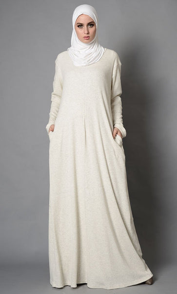 Melange Beige Round Neck Abaya_As Pictured_Front_View