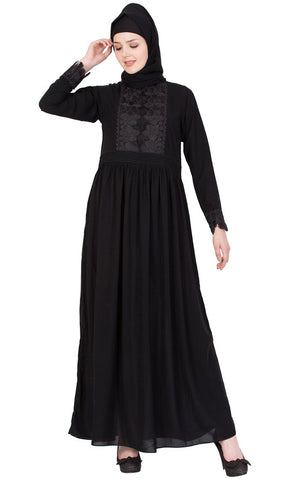 Elegant embroidered lace abaya-Final sale