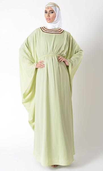 Egyptian Embroidered Moss crepe Eid Kaftan + Hijab_Light Green_Front_View