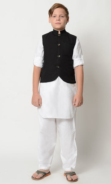 Boys Kurta Pajama with Vest-3 pieces set_As Pictured_Front_View