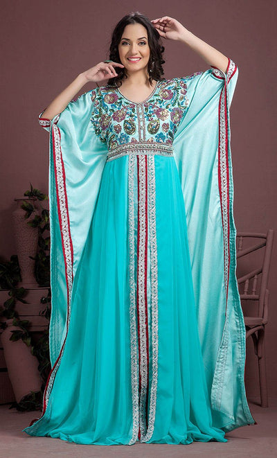 Aqua Blue Color Partywear Kaftan-Georgette Kaftan-Final Sale_As Pictured_Front_View