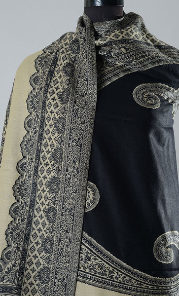 Kashida Black Filled Style Pashmina Shawl- Final Sale Item_As Pictured_Front_View
