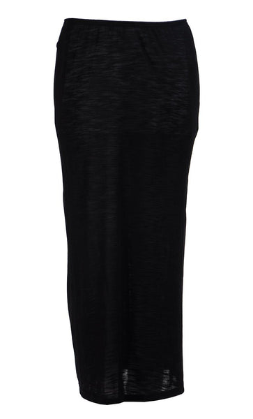 Black Viscose Knit Long Slip Skirt Under Dress - Final Sale_Black_Front_View