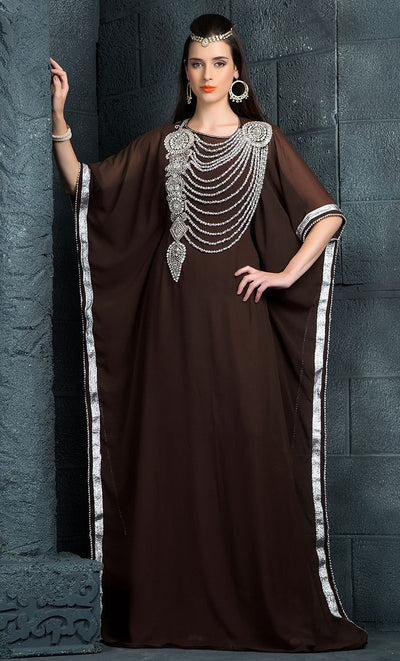 Brown Color Kaftan-Georgette Kaftan-Final Sale_As Pictured_Front_View
