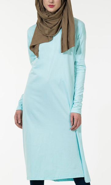 Extra Long Basic Jersey Tunic_Maroon_Front_View