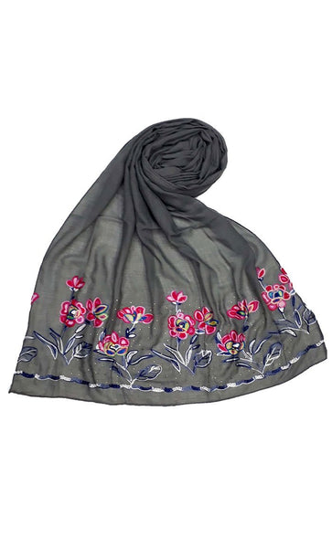 Grey floral embroidered hijab-final sale