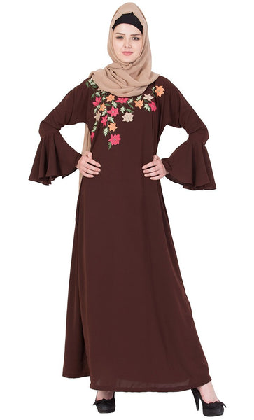 Flared sleeves embroidered abaya-Final sale