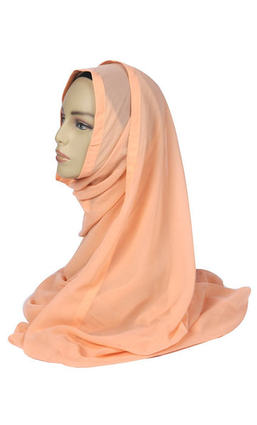 Peach Georgette Hijab with Peach Trim- Final Sale_As Pictured_Front_View