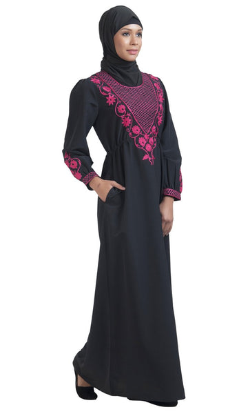 Ethnic Embroidered Abaya Dress_Black_Front_View