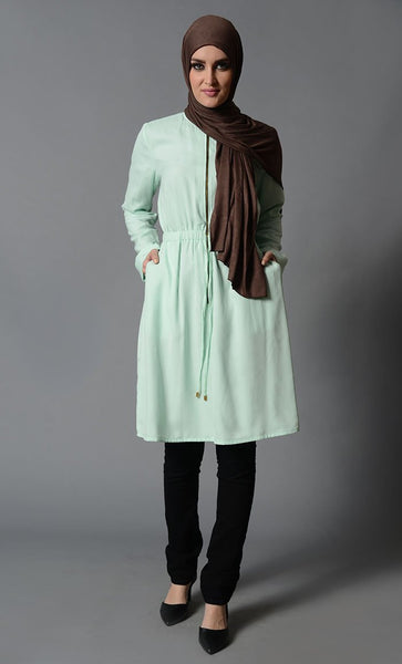 Ice Crepe Front Zipper Tunic-Final Sale Item_As Pictured(Out Of Stock)_Front_View
